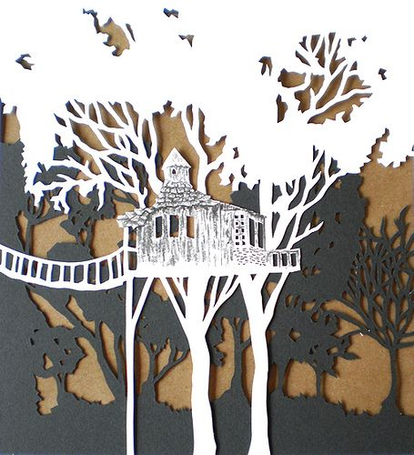 tree house papercut | by woodland papercuts