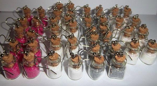 boucles d'oreilles mini fiole en verre