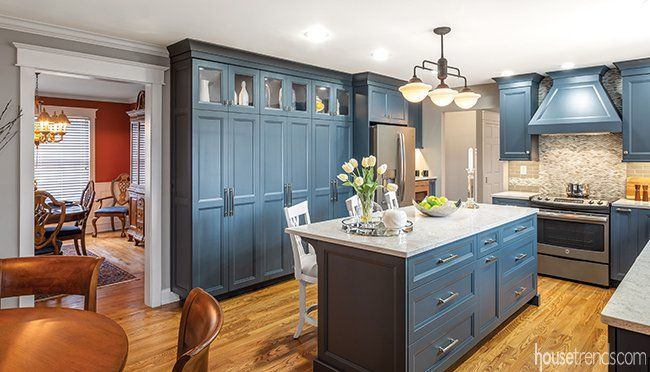 Kitchen Remodel Is Anything But Blue And Offers An Unexpected Twist Kitchen Remodel Deep Pantry Remodel