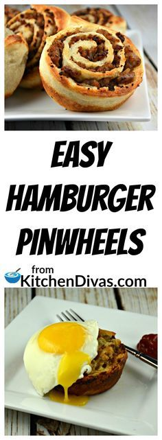 These Easy Hamburger Pinwheels are an easy and fabulous snack or small meal for any time of the day! You can use whichever ground meat you prefer or have on hand.  We have used all of the different ground meats at one time or another.  Regardless of which ground meat you choose, this recipe will not disappoint!  Easy Hamburger Pinwheels can be dipped in ketchup, mustard or any hamburger topping will do! Honestly anything you can think of will work as a dip if you think you even need one!