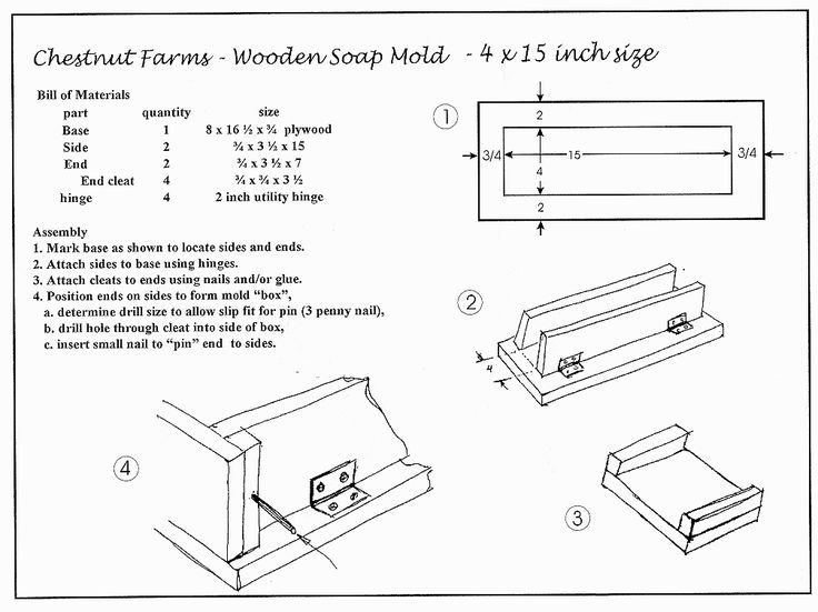 """4""""x15"""" wooden soap mold plan! my guess is that this mold will hold more than 3lb of soap"""