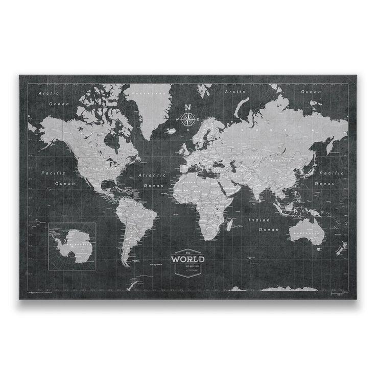 Chile Location On World Map%0A World Travel Map Pin Board w Push Pins  Modern Slate