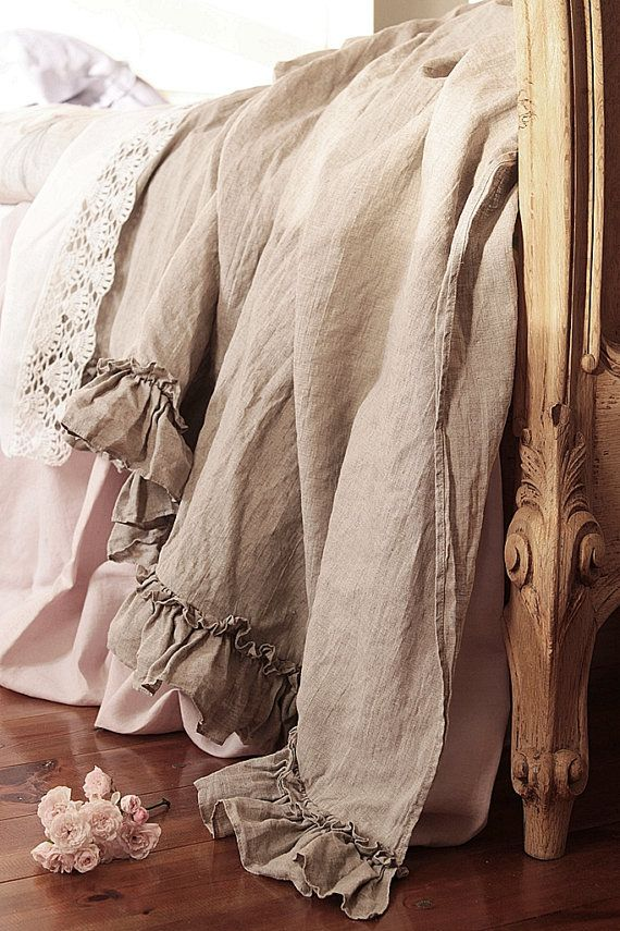 Linen ruffles Bed scarf Vintage style  linen throw  by emeisonCOM
