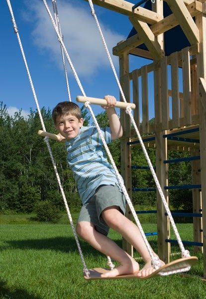 SWINGSET | REPURPOSE SKATEBOARD ( or more likely, a purchased accessory.) | My kids would love this.