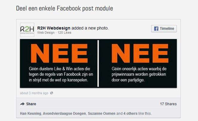 #Joomla #module voor het embedden van #Facebook berichten.
