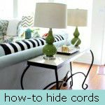 how to easily hide cords- i despise cords showing so this little tutorial makes me happy!