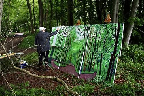 David Hockney   painting the seasons through a copse of beech trees, when he returned for winter they had all been felled.