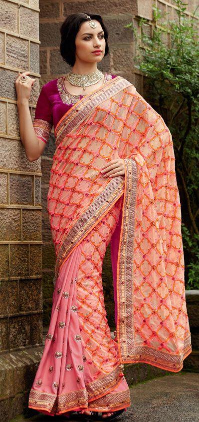 USD 164.75 Orange and Pink Stone Work Half N Half Wedding Saree  40312