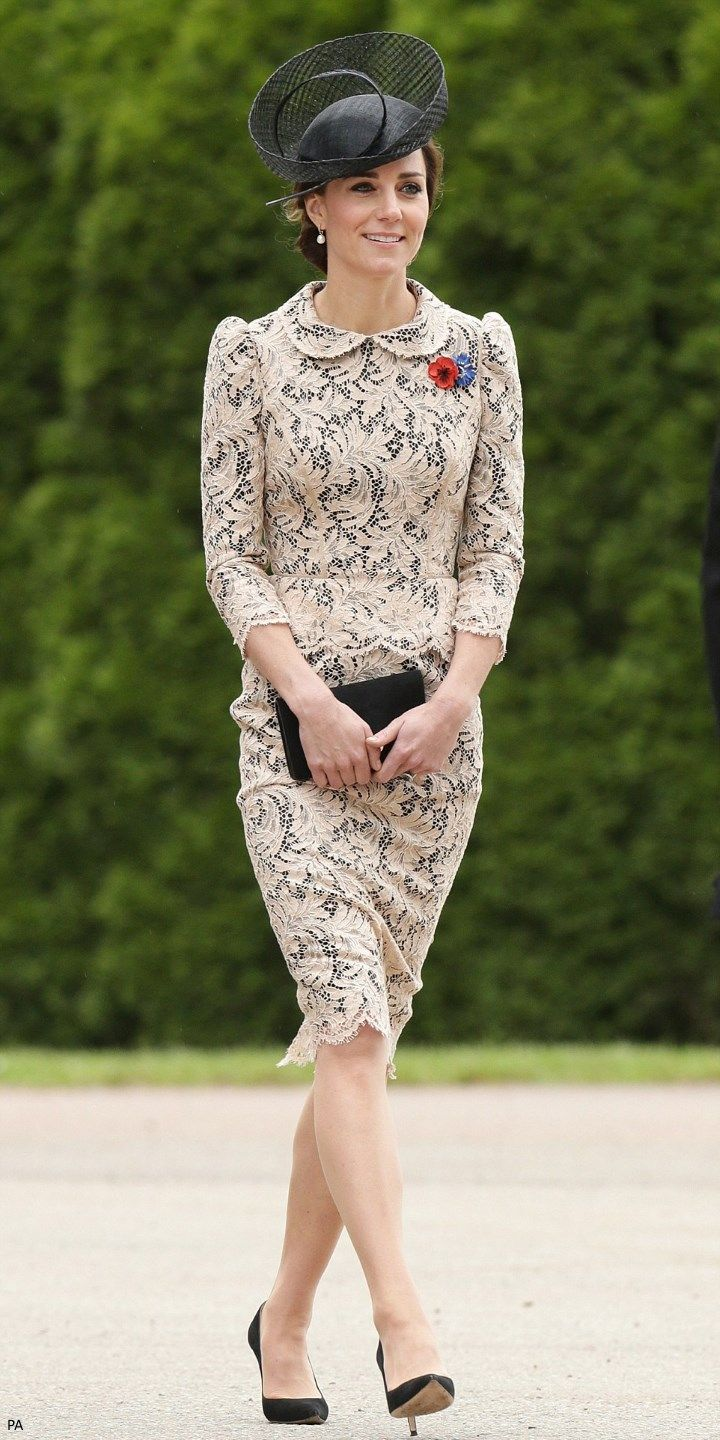 hrhduchesskate:  100th Anniversary of the Battle of the Somme, Opening of the new Thipval Museum, France, July 1, 2016-Duchess of Cambridge in beige lace over black dress by an as yet unidentified maker, accessorized with her Gianvitto Rossi pumps, Mulberry Clutch, Lock & Co. 'Lion Tamer' hat first worn in 2011, and Annoushka pearls with Kiki McDonough hoops; along with all the guests, the Duchess also wore a red poppy and its French equivalent, the 'bluette', in memory to the fallen