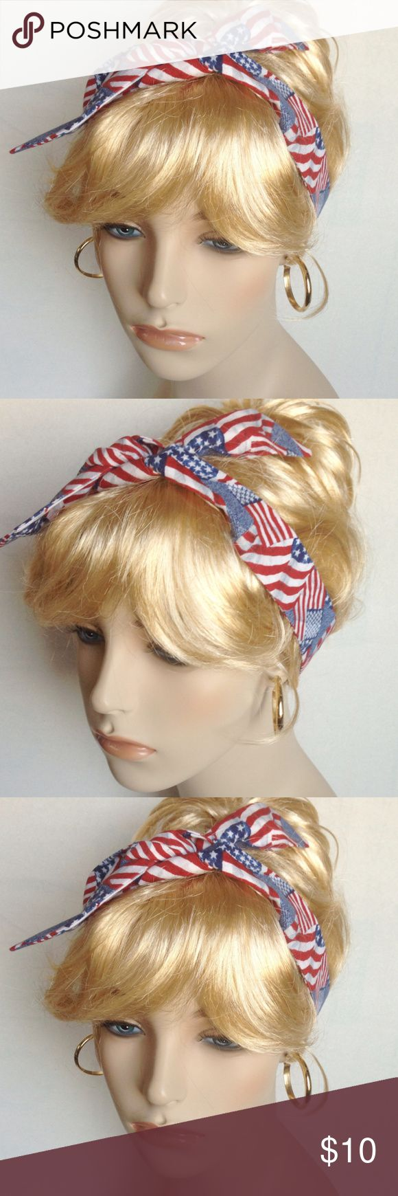 """Skinny Self Tie Rockabilly Headband Red White Blue Rockabilly Headband Skinny Self Tie Dolly Bow Retro Pin Up Red White Blue  Reminiscent of the 50s era, you can tie this in front, to the side or in back of the head.   Length approximately 40""""   Width approximately 1-1/2""""  Care:  Hand wash cold water.  Lay flat to dry.  Iron as needed.  It is handmade in my smoke-free home.  Thank you for looking! AnnAngelica Handmade Accessories Hair Accessories"""
