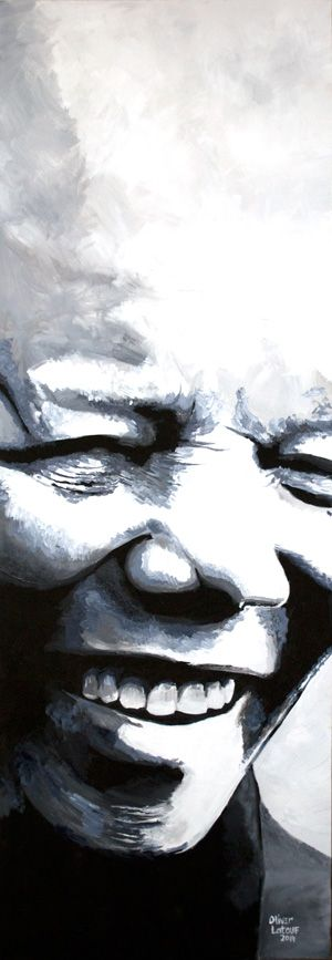 Mr Nelson Mandela - Acrylic onto canvas: 1530x550mm For Sale