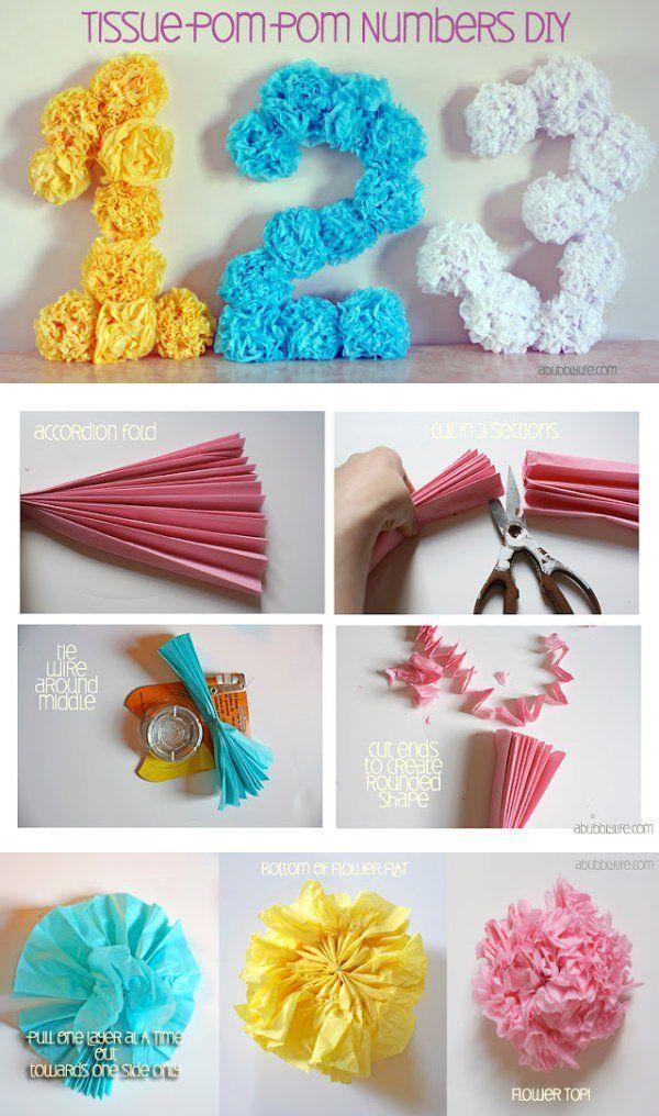 letras con pompones de lana