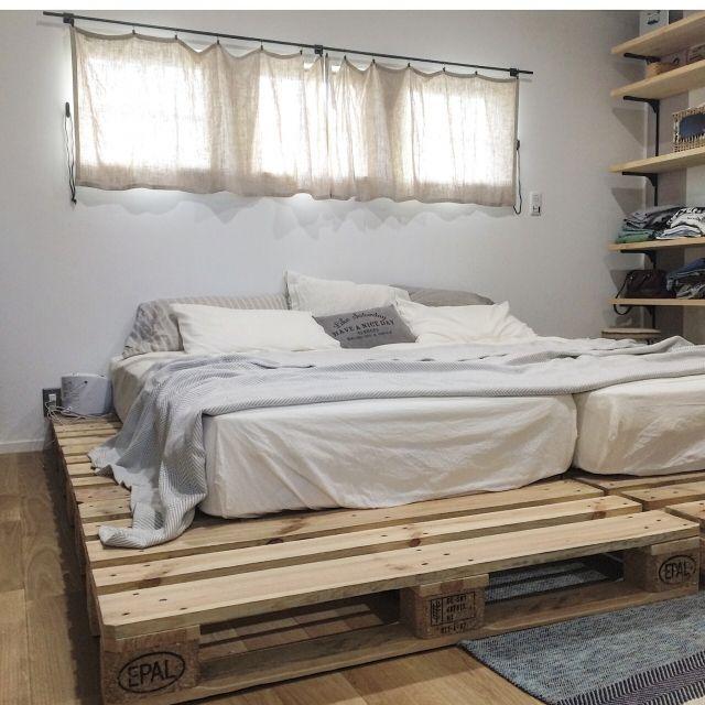 manataroさんの、インスタ→manataro.500,アイアン,無印良品,ニトリ,パレット,パレットベッド,すのこ,寝室,ベッド,ベッド周り,のお部屋写真