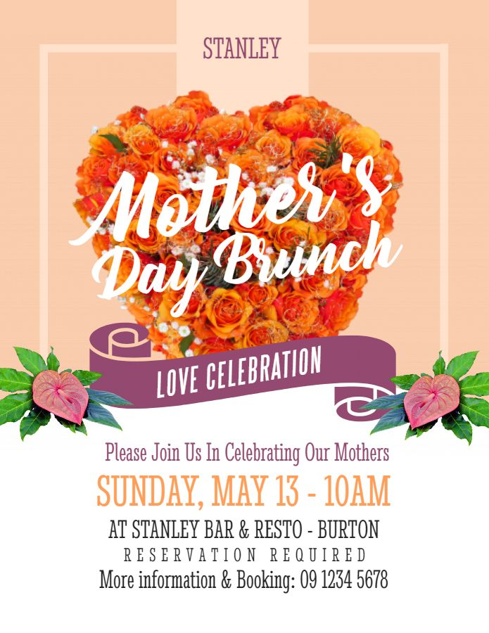 printable mother s day brunch poster template orange mother s