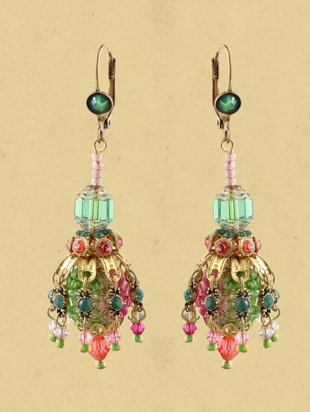 Michal Negrin earrings with vintage style multicolor bell beads and lace covered round faux-pearl beads.