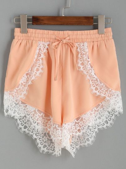 Pink Contrast Lace Trim Elastic Waist Loose Shorts