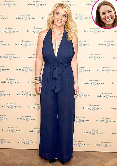 Britney Spears rocks a plunging, navy blue one-piece to the London launch of The Intimate Britney Spears lingerie collection