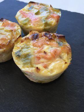 Quiche sans pâte ou muffins poireaux saumon fumé