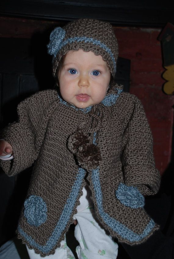 Crochet baby sweater and hat