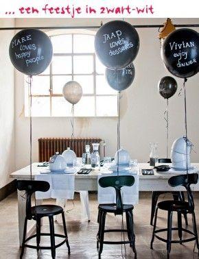 Voor een jongens FEEST :Maak een feestje van je feestje: versier de tafel, blaas de ballonnen op en bak de taart. Alles in zwart-wit natuurlijk, want je gasten zijn al kleurrijk genoeg.