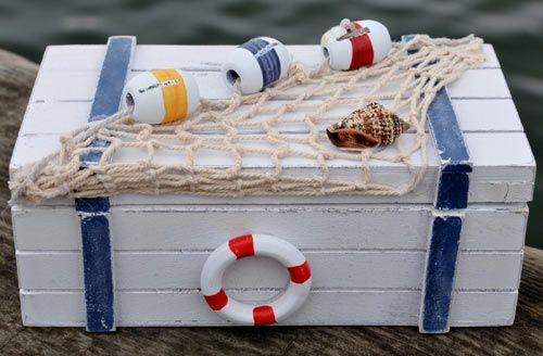 Rustic decorative items for a nautical home in the UK. Sea themed decor and coastal decor in a nautical home, seaside bathroom, garden or boat including anchor gifts and ships wheel.
