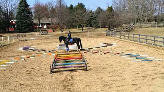 Winter ground pole exercises for small arenas