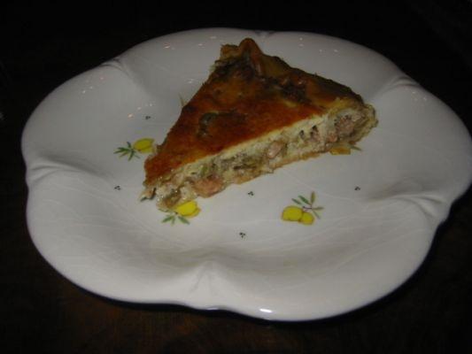 torta di carciofi, gamberetti e polpa di granchio