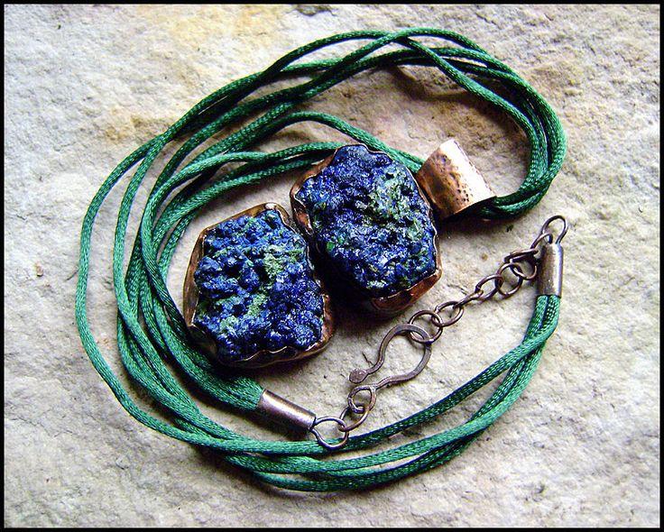 The Raw Azurite Pendant, womens jewelry, woodland nostalgia, handmade, boho, antiqued copper, rustic, etnic, hippie by TheWoodlandNostalgia on Etsy