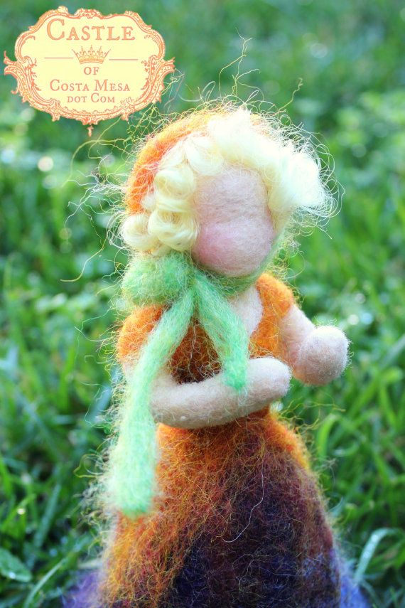 Miss Upside Down Pansy Flower Fairy. Needle-felted Waldorf Spring Season Table Fairy Doll by Castle of Costa Mesa