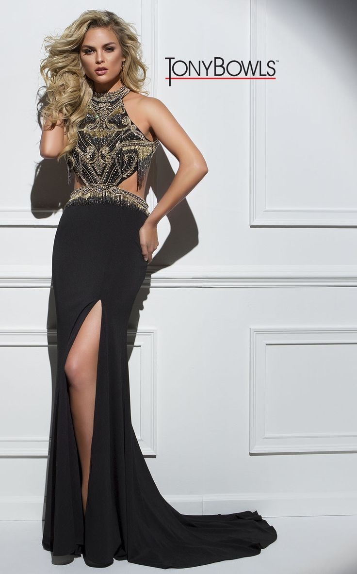 Tony Bowls Black And Gold Beaded Gown