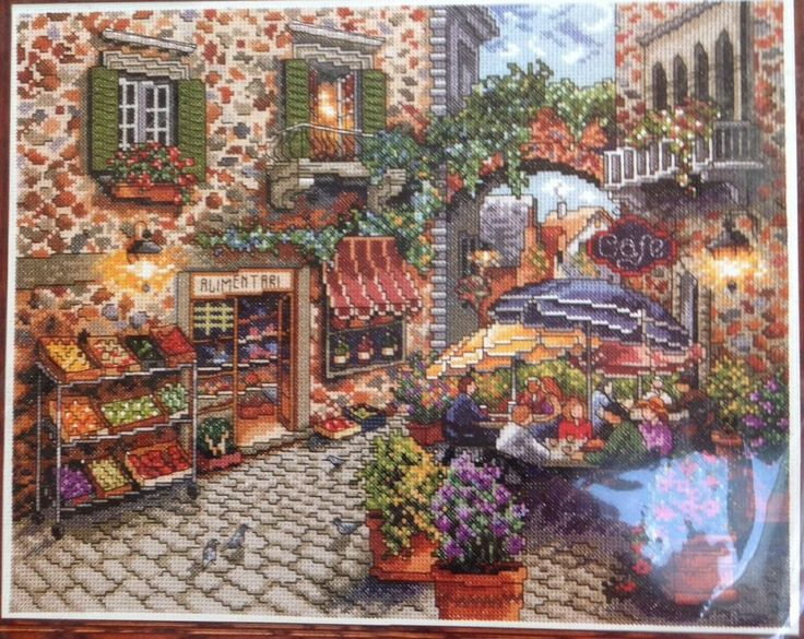 Old Olde World European Sidewalk Cafe Nicky Boehme Design Works Cross Stitch Kit