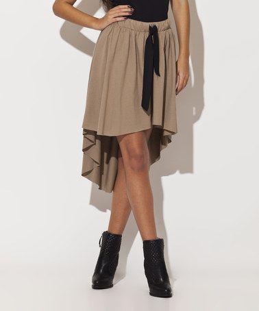 Beige Hi-Low Skirt #zulily #zulilyfinds