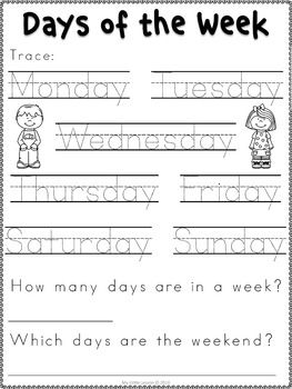 Days of the Week Worksheets | English worksheets for kids ...