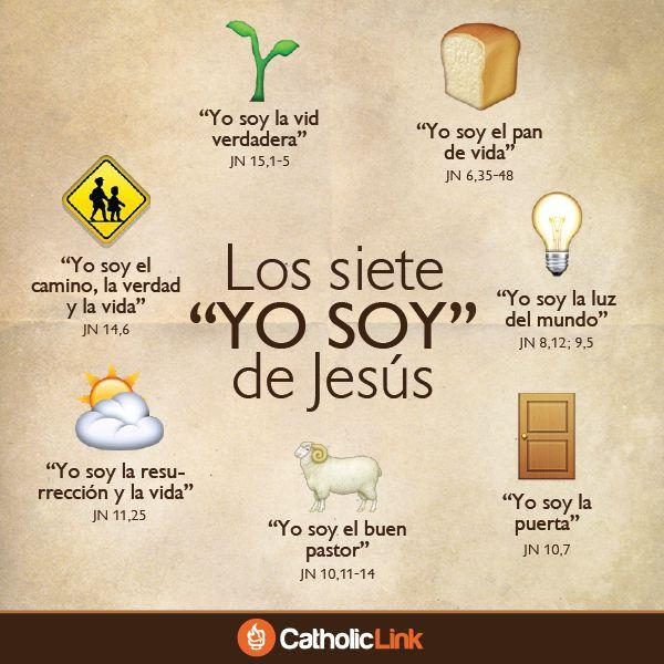 """Infografía: Los siete """"YO SOY"""" de Jesús tomados del Evangelio según San…"""