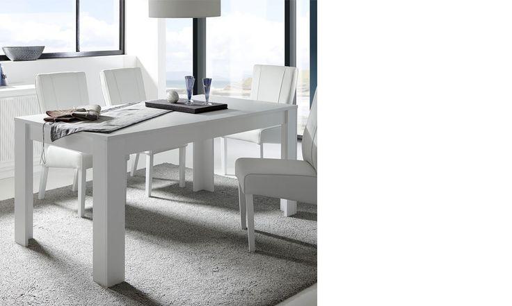 Table avec rallonge blanc laqué mat design AURORA