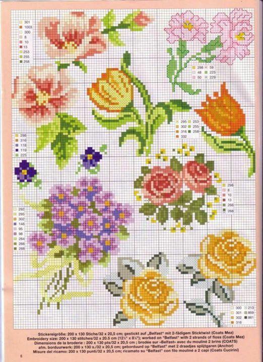 Vintage cross stitch flowers