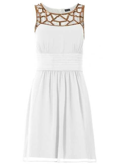 Robe blanche dorée