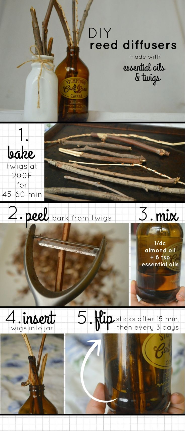 DIY Reed Diffusers to use with Essential Oils! (I haven't tried this yet, but looks really cute)