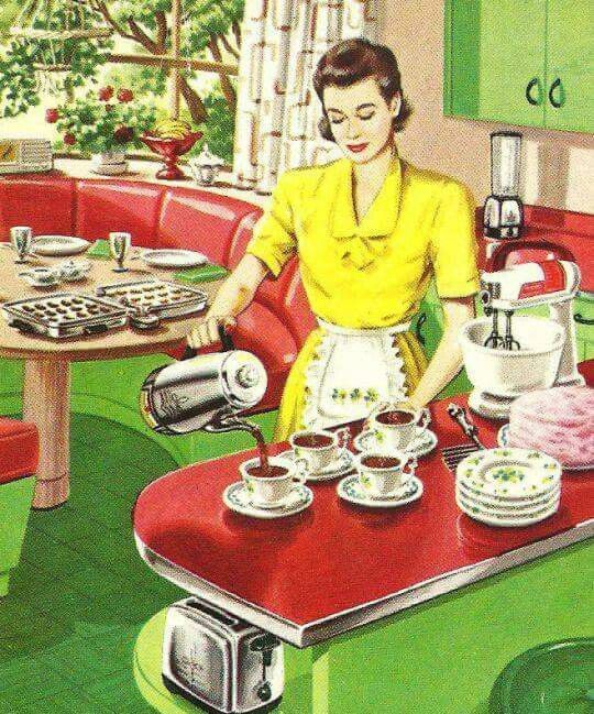 1950s kitchen. I don't care for the color combo, but I LOVE the round booth/window and display shelves on the island.