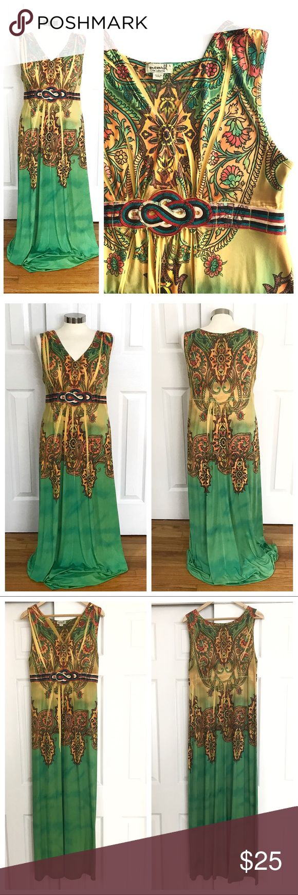 One World Yellow & Green Maxi Dress Vneck sleeveless long maxi dress. Beautiful design with yellow, brown, orange and green. Some slight pilling on the inside of the skirt at the hem - can't see it at all when worn, just wanted to disclose! One World size large. 94% polyester 6% spandex. Stretch to fabric. ONE WORLD Dresses Maxi