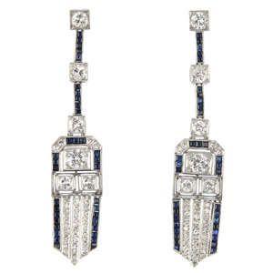 LOT:368   A pair of mid 20th century diamond and sapphire ear pendants.