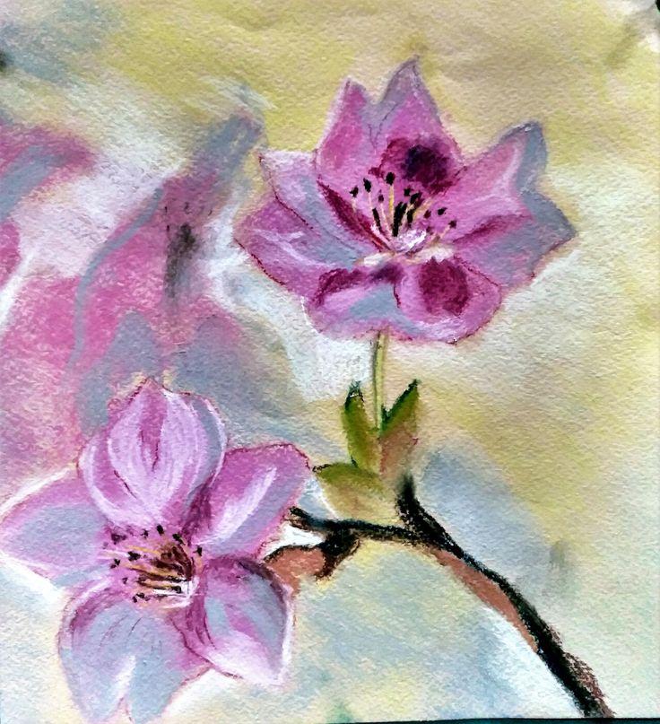 """Работа на мастер-классе """"Цветы, цветы... калейдоскоп"""" (сухая пастель)"""