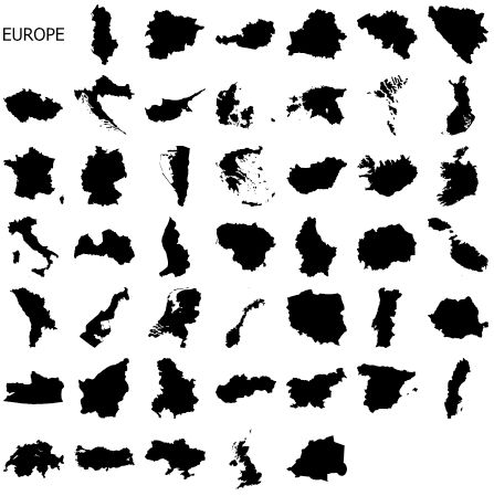 Free Custom Shapes for Photoshop - Continents and Countries: Europe Custom Shape Set for Photoshop
