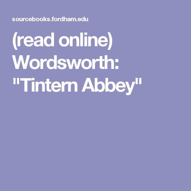 "(read online) Wordsworth:  ""Tintern Abbey"""