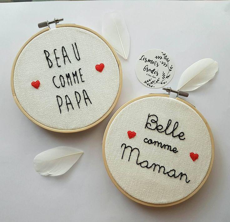 Broderie Belle comme Maman sur cercle à broder