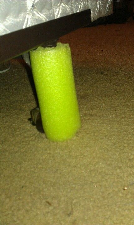 Glad I thought of this.... Cut a pool noodle open and wrap it around the casters on the bed; no more bruised and broken toes! I'm a genius!