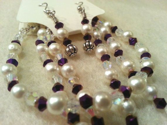 Elegant Set  Purple Swarovski Crystal and by FrantasticCreationz, $20.00