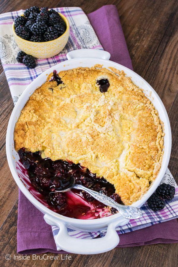 Blackberry Lemon Dump Cake - gooey blackberry pie filling topped with a crispy lemon topping. Easy summer dessert recipe that is delicious served with vanilla ice cream!
