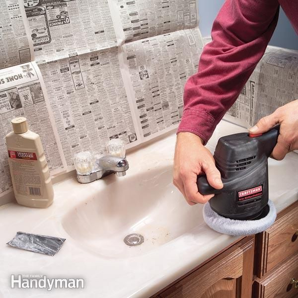 Renew your bathroom vanity. Make a scratched, dull-looking cultured marble top look shiny again with an auto polisher and special cleaners and polish—and save the cost of replacement.