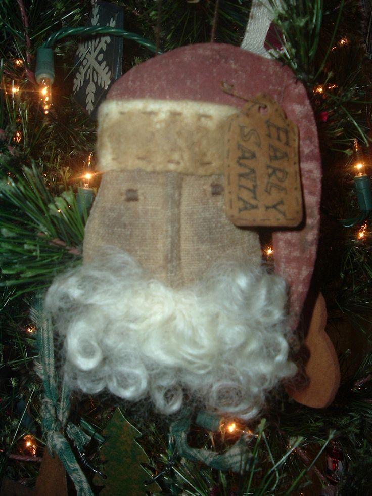 Primitive Christmas Ornaments | primitive Santa I made using a Sweetpeas Primitives pattern! Love ...